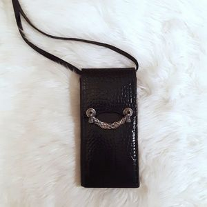 Black Leather Brighton Wallet Crossbody